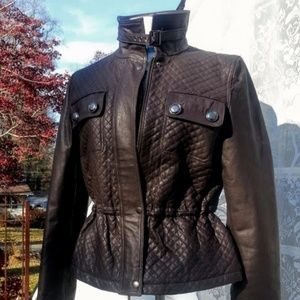 Boston Proper quilted brown leather moto jacket M
